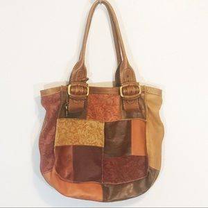 Fossil hobo patchwork tote bag leather large